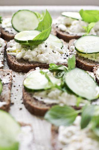 Open faced cucumber sandwiches.