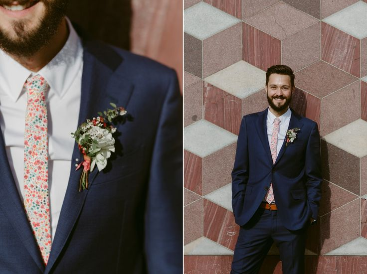 Liberty print Phoebe for the groom's tie - A Modern, Contemporary and Geometric Inspired City Wedding