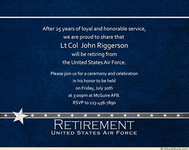 Horizontal Air Force Retirement Invitation Without Photo