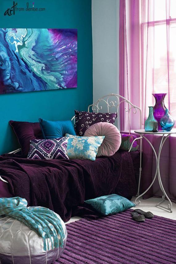 Abstract Watercolor Canvas Print Purple Teal Aqua Blue Navy Etsy