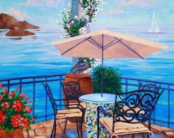 Arte, pintura al óleo originales, pintura sobre lienzo, paisaje tranquilo junto al mar, paisaje sobre lienzo de Rebecca Beal