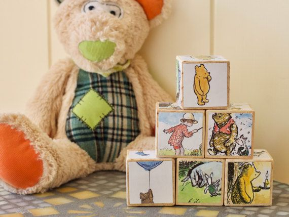 nursery decor, wooden blocks, winnie the pooh, baby blocks, stacking toys, baby boy gift, baby girl gift, toy blocks