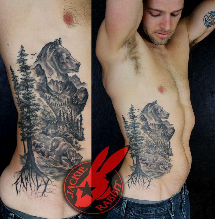 Nature Tree Forest Wildlife Bear Rib Tattoo by Jackie Rabbit