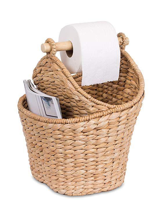 Birdrock Home Seagrass Magazine And Bathroom Basket Hand Woven Toilet Paper Holder With Pocket Honey Stylish Bathroom Baskets Wooden Basket Toilet Paper