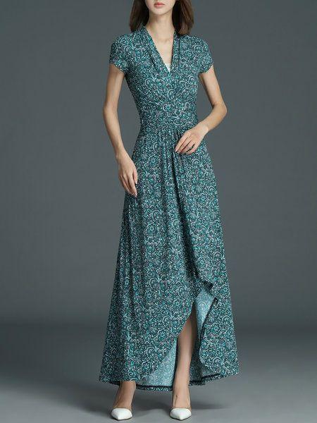 Shop Maxi Dresses - Green Polyester Vintage V Neck Maxi Dress online. Discover unique designers fashion at StyleWe.com.