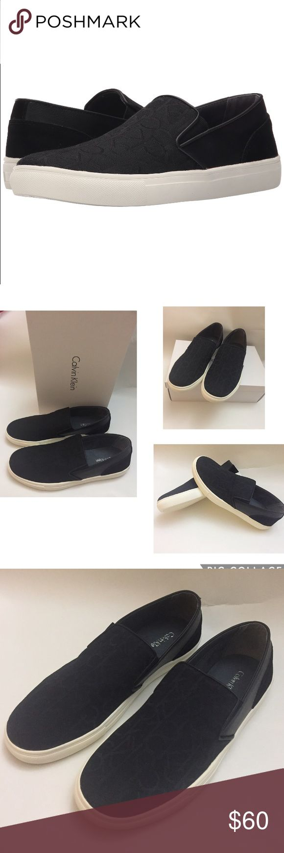Calvin Klein phoenix Jacquard/Smooth Sneakers Authentic new with box. Let your style become reborn with the Phoenix sneaker. Canvas and synthetic upper. Slip-on. Brand logo pattern throughout. Soft fabric lining and footbed. Rubber outsole. Imported. Men's Size 11.5 M. Calvin Klein Shoes Loafers & Slip-Ons