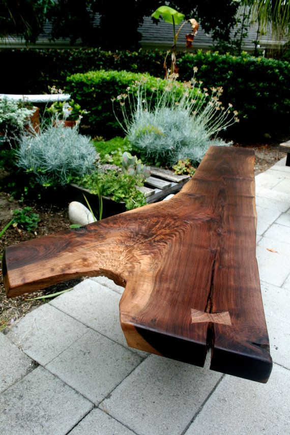 modern Live edge Walnut bench