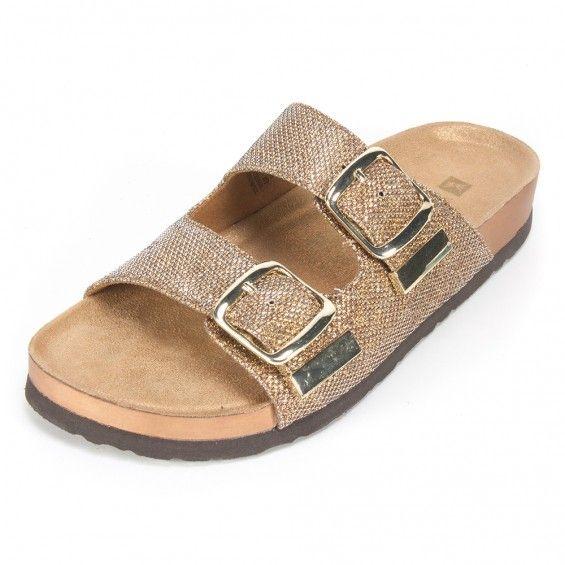 White Mountain Shoes Horizon Bronze Glitter Sandal