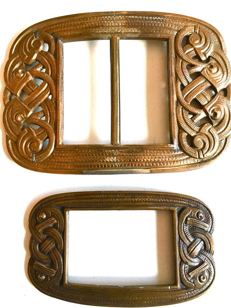 Gustav Gaudernack design for own workshop. Cast bronze buckles in dragon style. Prototype from wax model. ca 1905-1914