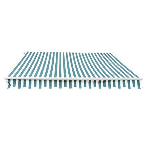 Affordable awning!!! Install grommets at the corners for poles. ALEKO® Awning Fabric Replacement 10x8 Ft for Retractable Awning, BLUE/WHITE STRAP