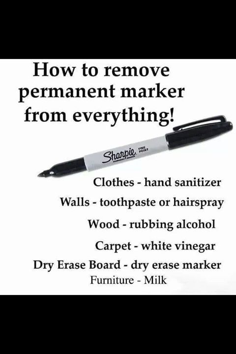 How to remove Sharpie/ permanent marker from everything!