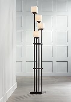 Light Tree Four Light Bronze Torchiere Floor Lamp - very deco