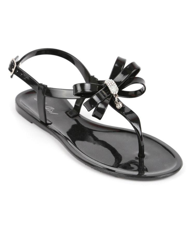 SOHO Shoes Black Bow Jelly Sandal by SOHO Shoes #zulily
