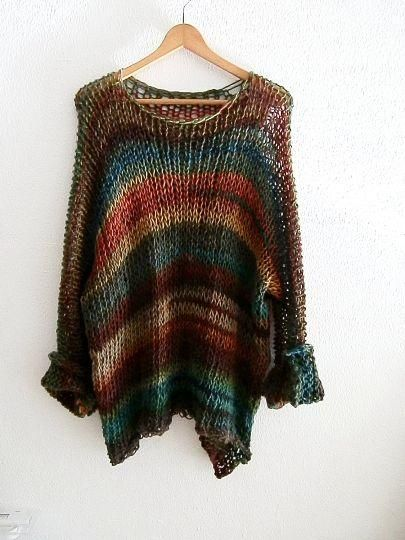 Oversized long sweater made by merino wool, soft pullover with long  sleeves, multicolor knit, cowl neck, womens knitwear, merino wool