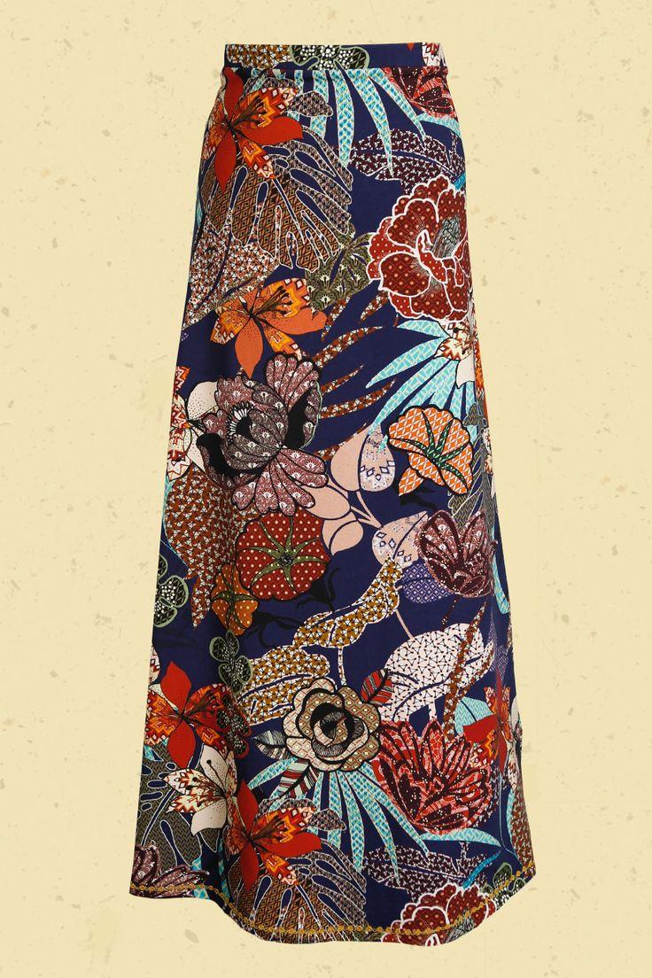 Talulabelle maxi skirt blue floral print Marine blauwe batik print maxi-rok