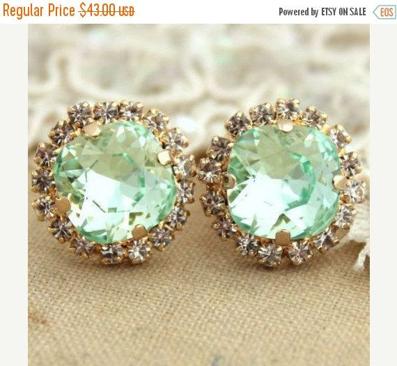 Mint Stud EarringsCrystal Mint EarringsSwarovski Mint by iloniti