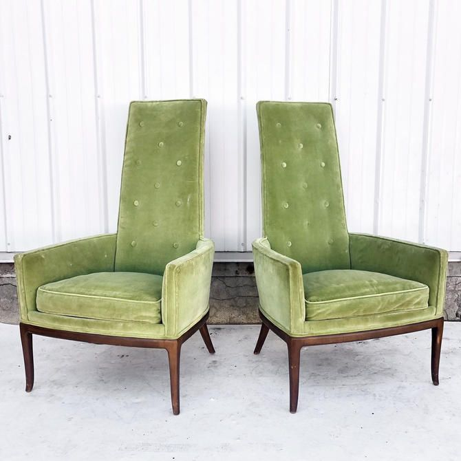 Mid Century Modern High Back Accent Chairs A Pair By