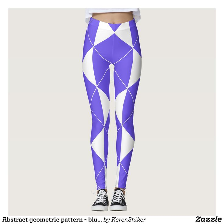 Abstract geometric pattern - blue and white. leggings - Printed #Yoga #Leggings & Running Tights Creative Workout and #Gym #Fashion Designs From International Artists - #pilates #exercise #crossfit #workout #tights #running #sports #design #fashiondesign #designer #fashiondesigner #style #pants