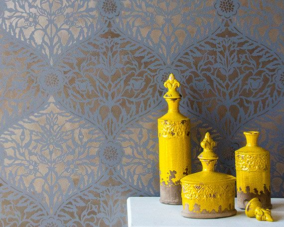 Moroccan Trellis Stencil for Wall Stenciling and Wallpaper Decorating - Colorful Painted Wall Stencil - Boho Chic Style