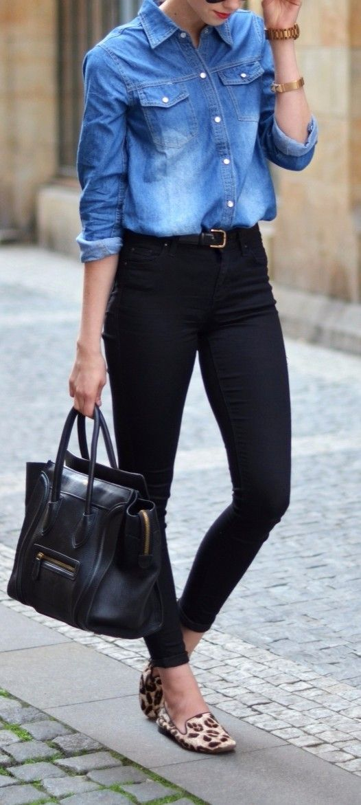 denim shirt + black high waist chic office outfit