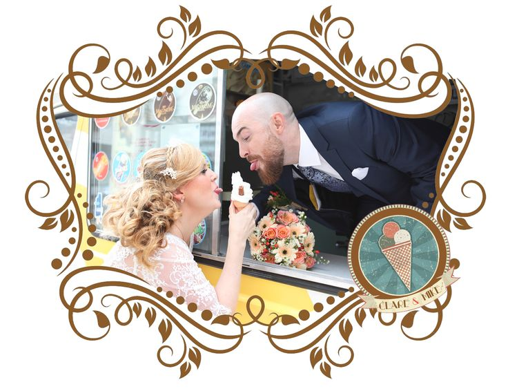 fun wedding photos. Clare and Mike having a wedding whippy!