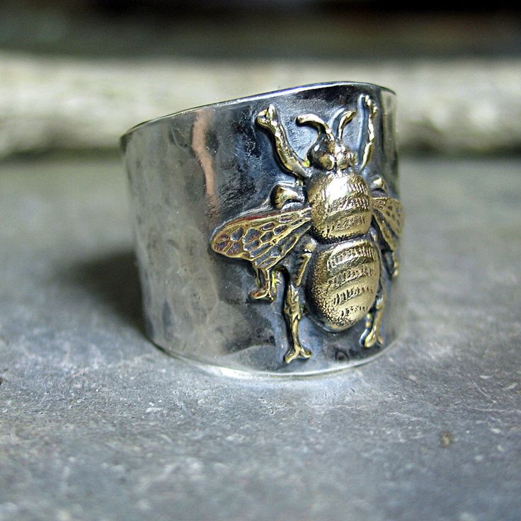 Bee ring bumblebee honeybee insect sterling silver wide band ring - The Garden Bee Ring by LavenderCottage on Etsy https://www.etsy.com/listing/197734451/bee-ring-bumblebee-honeybee-insect