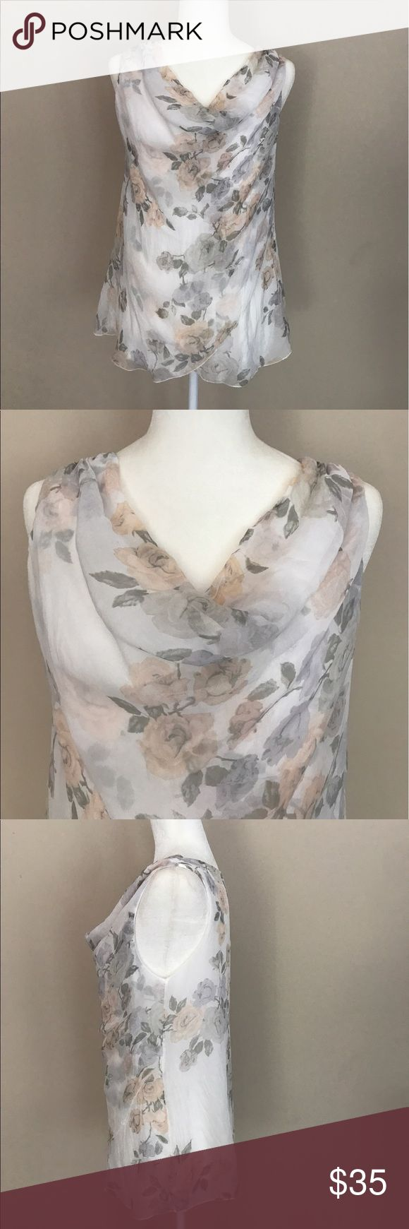 """GIUSY Pure Silk Cowl Neck Flower Blouse Made in Italy - I bought this at a Local Boutique this past year - Now it's a little too big - This Top is Gorgeous with its Peach & Sage Green Flowers - Is Double Lined with a Soft White Shirt underneath - The Outer Layer is 100% Pure Silk and the Front has a Unique Fold Over Layered Design - Approximate Measurements are: Length from Shoulder to Bottom Hem is 25"""" & Bust from Armpit to Armpit is 19"""" - Price Firm unless Bundled for a Discount! Giusy…"""