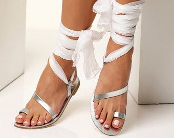 Bridal sandals with silk laces Silver Wedding flats Silver