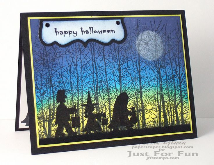 Just For Fun Rubber Stamps - Tree Line - http://www.jffstamps.com/proddetail.asp?prod=H3641 Trick or Treat - http://www.jffstamps.com/proddetail.asp?prod=C3466 Sentiments 1 - http://www.jffstamps.com/proddetail.asp?prod=UMS7018&cat=20 Halloween