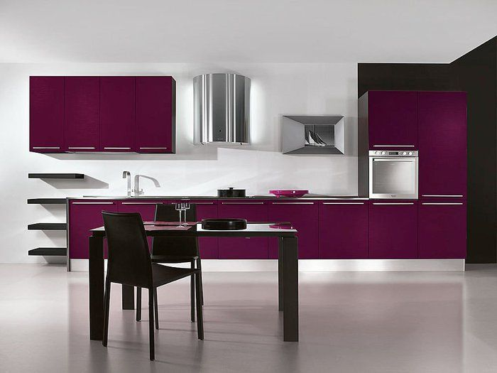 Best 10 Dazzling Purple Kitchen Design Ideas : Chic White Walls Kitchen Design with Purple Kitchen Cabinet and Modern Kitchen Appliances