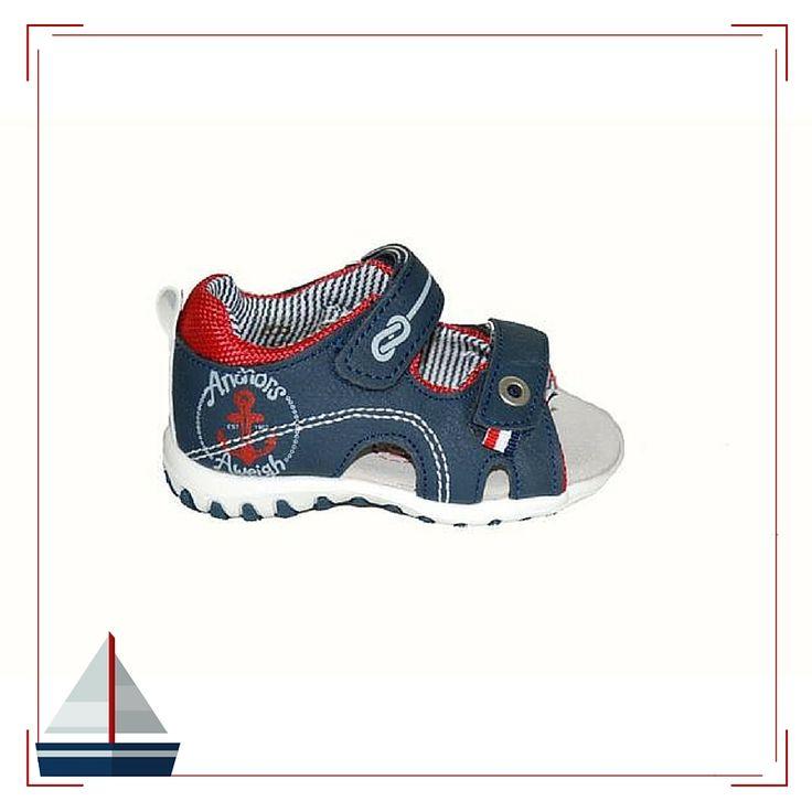 #baby #shoes Πέδιλο M SHOES by Mouyer, μπλε με δερμάτινο πάτο και αυτοκόλλητα κουμπώματα.