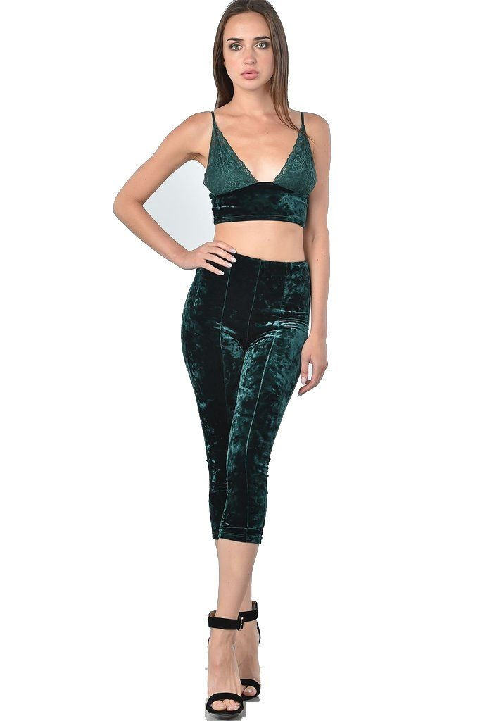 6f84c9ef0 Clothing Set : Green Velvet Top & Pants Set – Diosa Edition. Find this Pin  and more on Two Piece ...