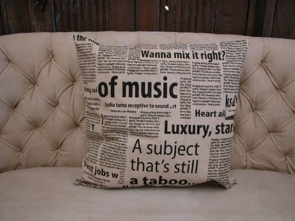 Printed Old Tarp Cushion, Cushions, Textiles, Teak, Iron, and Rustic Furniture and Homeware | Obelisk Christchurch