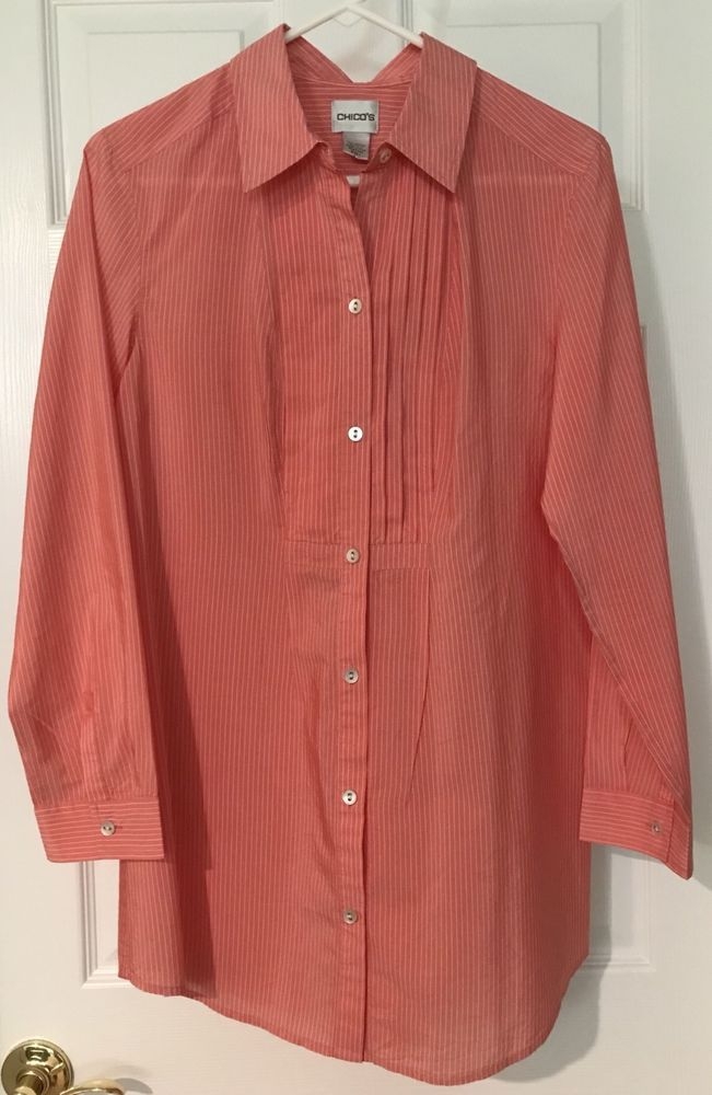 1eaba8b675196 CHICO S Coral Cotton Silk Button Down Blouse Shirt Size 1(8) Career Casual   Chicos  Blouse  CareerCasual