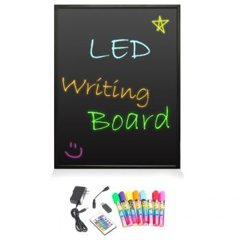 Pyle Home Erasable Illuminated LED Writing Board w/ Remote Control and 8 Fluorescent Markers, Black