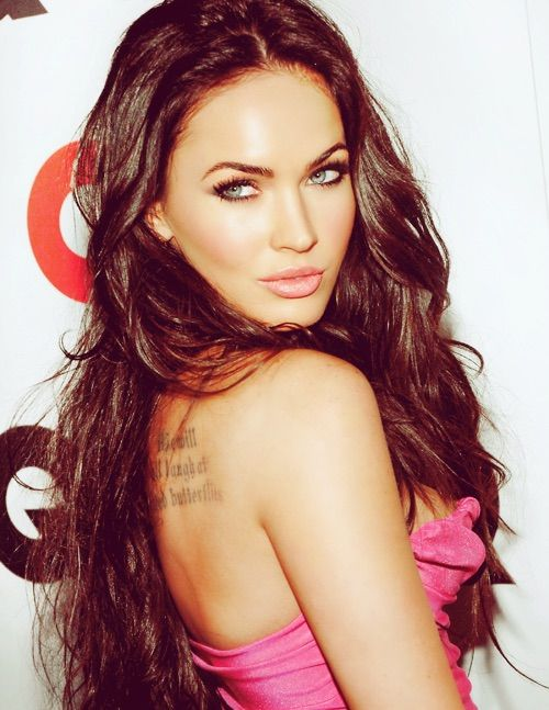 Image via We Heart It #blueeyes #lips #meganfox #photoshop #sexyGirl #tattoo