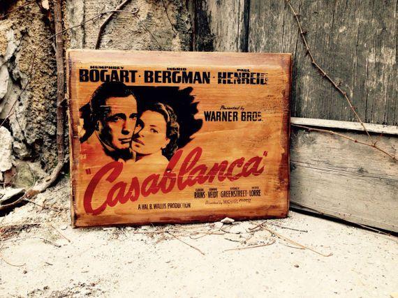 Casablanca Movie Poster Home Decor Wall Decor Wooden Picture  #vintage #homedecor #walldecor