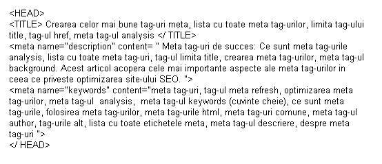 Optimizarea SEO folosindu-ne de meta tag-uri