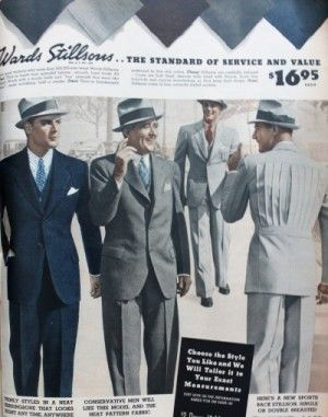 1937 Men's Summer Suits with pleated half back. VintageDancer.com