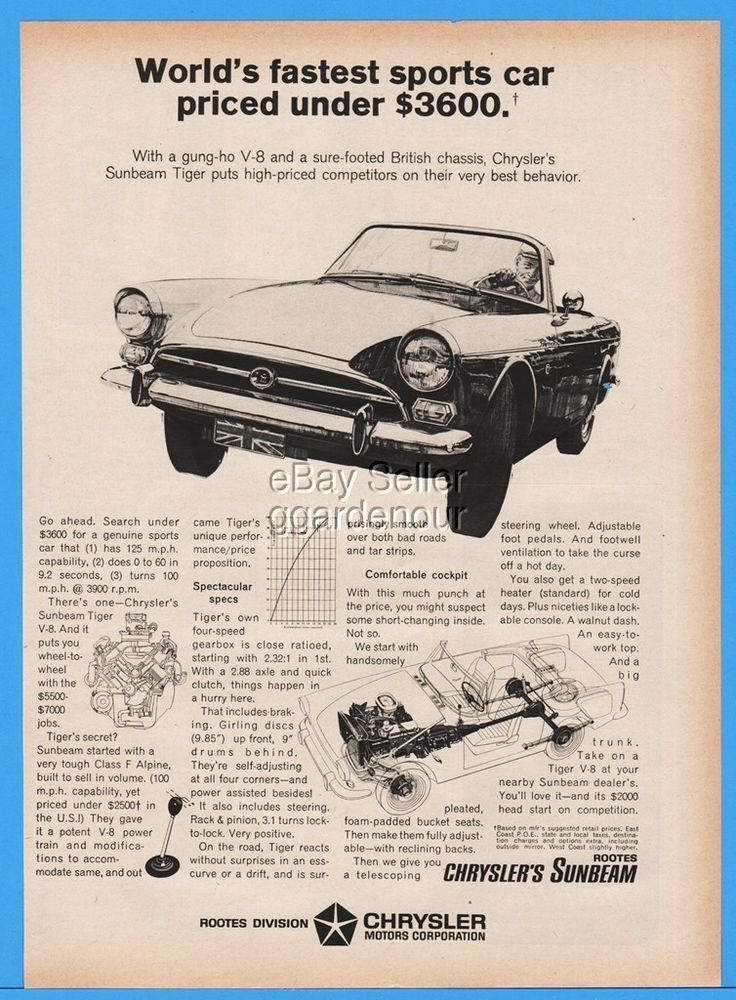 1966 Chrysler Sunbeam Tiger Convertible Sports Car Diagram British Chassis Ad  | eBay