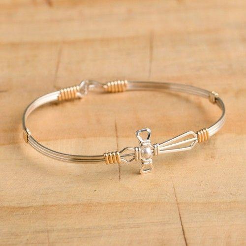 silver with gold jesus loves me ronaldo bracelet