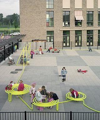 Steel tube seating for primary school kids.