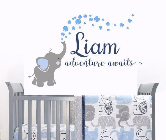 Elephant Decal Name Wall Decal Adventure Awaits Elephants Baby Boy Room Decor Decals Nursery Boys Decals C In 2020 Baby Boy Room Decor Elephant Baby Boy Baby Room Wall