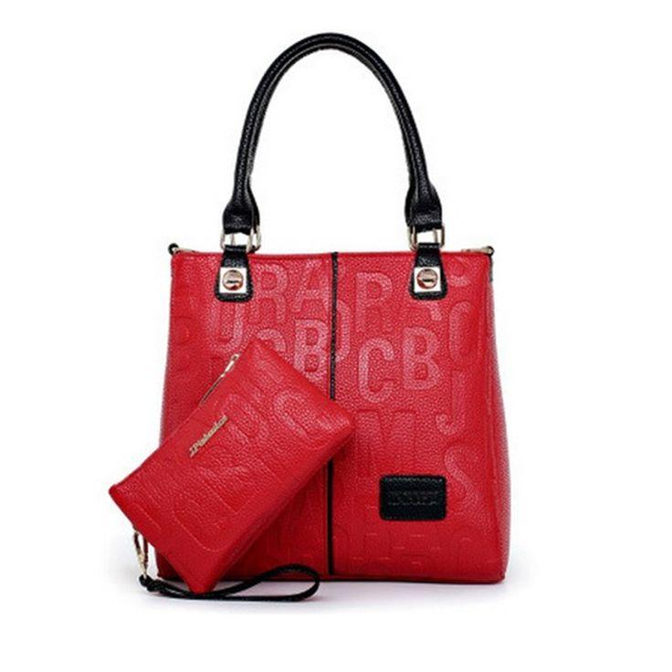 New 2016 Fashion Genuine Leather Handbag / Clutch Set