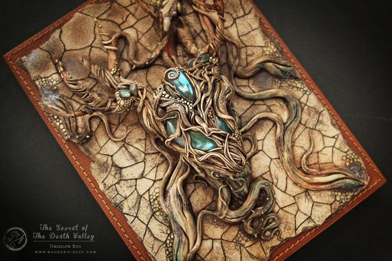 The Secret of the Death Valley - polymer clay jewelry treasury box - desert lizard iguana cracked labradorite deer stag post apocalyptic