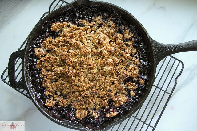 Blueberry Oatmeal Crisp with Bourbon Caramel by Heather Christo