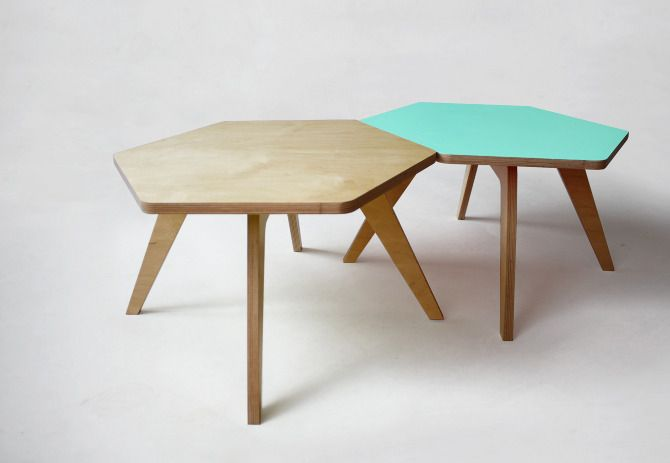 Hexagon coffee table / Coffee companions by Fragmenture