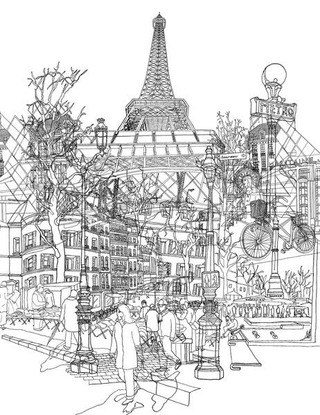 Paris! Black and White Art Print by David Bushell