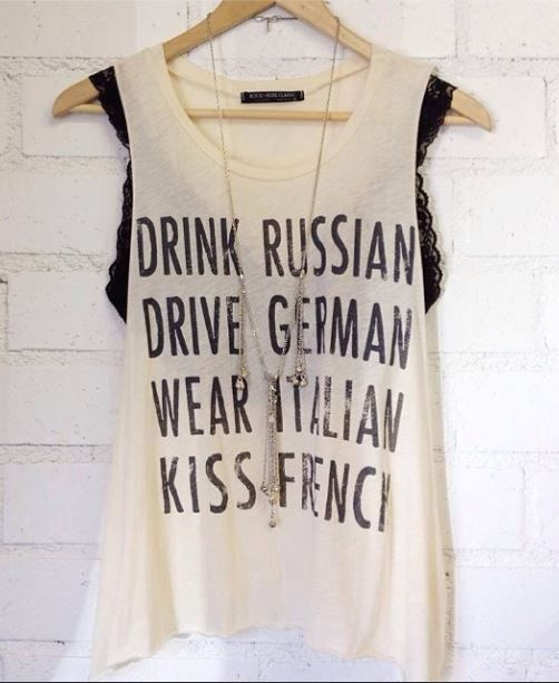 Drink, Drive, Wear, Kiss Graphic Tank - Threadsence
