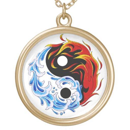 Cool cartoon tattoo symbol water fire Yin Yang Round Pendant Necklace